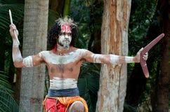 Demostración aborigen de la cultura en Queensland Australia Imagen de archivo libre de regalías
