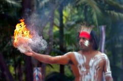 Demostración aborigen de la cultura en Queensland Australia fotos de archivo