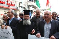 Demostración anti de la guerra que utiliza Gaza en Nazareth Fotografía de archivo libre de regalías