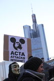 Demostración anti del ACTA en Francfort Fotografía de archivo libre de regalías