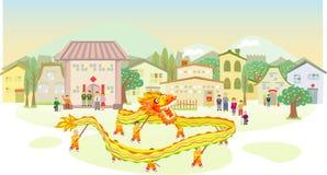 Demostración china de la danza del dragón stock de ilustración