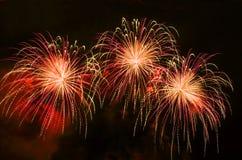 Demostración colorida de los fuegos artificiales Fotos de archivo libres de regalías