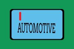 Demostración conceptual de la escritura de la mano automotriz Foto del negocio que muestra relacionado automotor al motor de vehí ilustración del vector