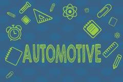 Demostración conceptual de la escritura de la mano automotriz Relacionado automotor del texto de la foto del negocio a los automó libre illustration