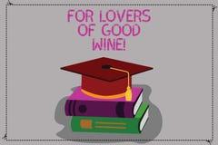 Demostración conceptual de la escritura de la mano para los amantes del buen vino Texto de la foto del negocio que ofrece un gust stock de ilustración