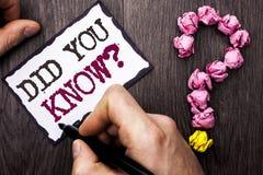 Demostración conceptual de la escritura de la mano usted conocía la pregunta El texto de la foto del negocio era informado aprend imagen de archivo libre de regalías