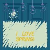 Demostración conceptual de la escritura de la mano yo primavera del amor Afecto de exhibición de la foto del negocio para la esta ilustración del vector