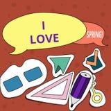 Demostración conceptual de la escritura de la mano yo primavera del amor Afecto del texto de la foto del negocio para la estación libre illustration