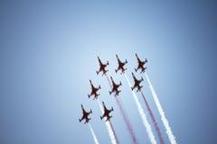 Demostración de aire de los combatientes de jet Imagen de archivo libre de regalías