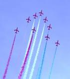 Demostración de aire roja de las flechas Fotografía de archivo libre de regalías