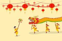 Demostración de Dragon Dancing ilustración del vector