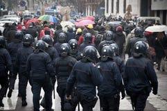 Demostración de estudiante en Milano el 22 de diciembre de 2010 Imagenes de archivo