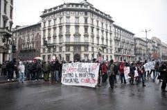 Demostración de estudiante en Milano el 22 de diciembre de 2010 Fotos de archivo libres de regalías