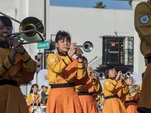 Demostración de la banda escolar de Kyoto Tachiba del japonés en la Rose famosa Fotografía de archivo libre de regalías