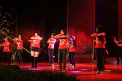 Demostración de la etapa del High School Musical en la demostración del Año Nuevo Imágenes de archivo libres de regalías