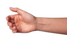 Demostración de la mano de la mujer que lleva a cabo algo aislado en el fondo blanco Fotografía de archivo