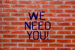 Demostración de la muestra del texto le necesitamos La compañía conceptual de la foto quiere emplear la vacante que busca el ladr fotografía de archivo libre de regalías