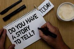 Demostración de la muestra del texto usted tiene una historia para decir la pregunta Las memorias conceptuales de la narración de imagen de archivo libre de regalías
