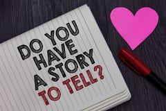Demostración de la nota de la escritura usted tiene una historia para decir la pregunta Los cuentos de exhibición de las memorias fotos de archivo