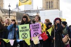 Demostración de la reunión de la rebelión de la extinción en Londres fotos de archivo libres de regalías