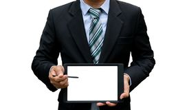 Demostración de la tecnología de la tableta de la pantalla táctil del control del hombre fotos de archivo libres de regalías