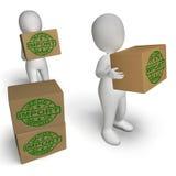 Demostración de las cajas de la importación que importa mercancías y mercancía libre illustration