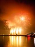 Demostración de los fuegos artificiales en una celebración Fotografía de archivo