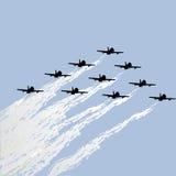 Demostración de los jets de la fuerza stock de ilustración