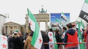 Demostración de los refugiados sirios Berlín, Alemania, el 15 de octubre de 2017 metrajes