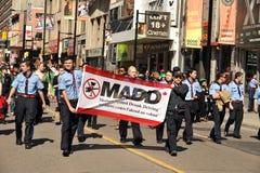 Demostración de MADD en desfile del día del St Patrick Fotos de archivo