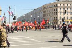 Demostración de mayo en St Petersburg Imagen de archivo libre de regalías