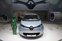 Demostración de motor de Premier-Ginebra del mundo de Renault Zoe 2012 Imagen de archivo libre de regalías