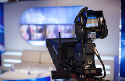 Demostración de registración en estudio de la TV Fotos de archivo