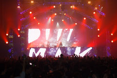 Demostración de STEVE AOKI en 808 el FESTIVAL 2013 fotografía de archivo