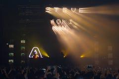 Demostración de STEVE AOKI en 808 el FESTIVAL 2013 fotos de archivo libres de regalías