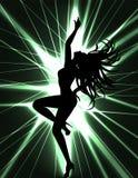 Demostración del bailarín Go-go y del laser stock de ilustración