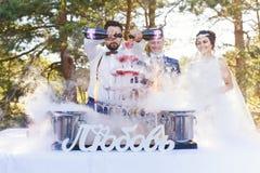 Demostración del camarero en el banquete de la boda Fotos de archivo