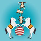 Demostración del circo de los monos y de los caballos ilustración del vector