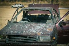 Demostración del coche bomba en el entrenamiento forense Foto de archivo