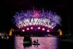 Demostración 2014 del fuego artificial de Sydney Fotos de archivo libres de regalías