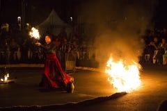 Demostración del fuego de Entre Terre y de Ciel Fotografía de archivo