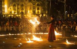Demostración del fuego de Entre Terre y de Ciel Foto de archivo libre de regalías