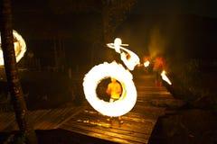 Demostración del fuego en la isla de Kood Fotos de archivo libres de regalías