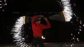 Demostración del fuego en la noche almacen de video