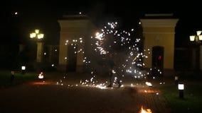 Demostración del fuego, foco borroso almacen de video