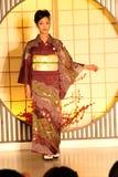 Demostración del kimono en Kyoto Imagen de archivo