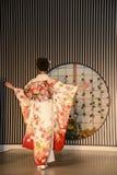Demostración del kimono en Kyoto fotografía de archivo libre de regalías