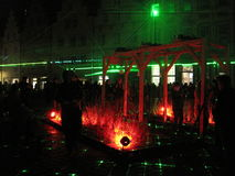 Demostración del laser alemania Osnabrueck, noche de la cultura 2015 Fotos de archivo libres de regalías