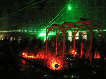 Demostración del laser alemania Osnabrueck, noche de la cultura 2015 Foto de archivo