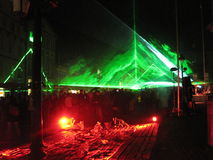 Demostración del laser alemania Osnabrueck, noche de la cultura 2015 Fotos de archivo